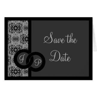 Linked Damask, save the date card