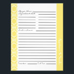 """Linked Eternity Rings Recipe Inserts - Lemon Flyer<br><div class=""""desc"""">Customizable recipe sheets in a modern linked eternity ring pattern with ample writing space on front and back. Personalize the section header with category name of your choice. Available in a variety of colors as a separate purchase so that you can coordinate with our recipe binders or mix and match...</div>"""