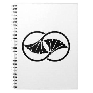 Linked ginkgo leaf circles notebook