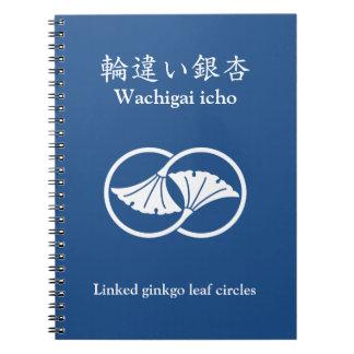 Linked ginkgo leaf circles spiral notebook
