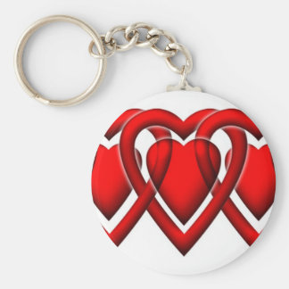Linked Heart classic Basic Round Button Keychain