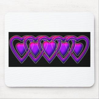 Linked Heart purple on black Mouse Pad