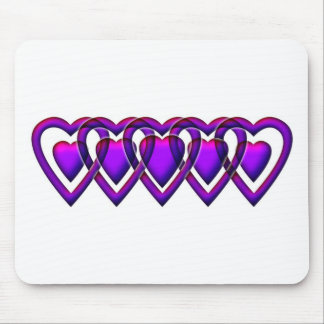 Linked Heart purple on white Mouse Pad