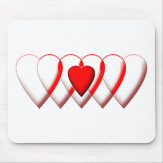 Linked Heart row simple Mouse Pad