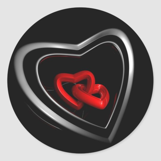 Linked Hearts Classic Round Sticker
