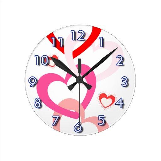 Linked Hearts Round Clocks