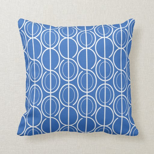 Linked oval line pattern royal blue & white pillow