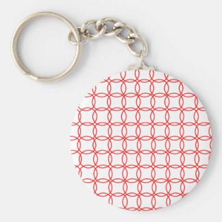 Linked Red Circles Basic Round Button Keychain