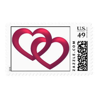 Linked Red Hearts Stamp