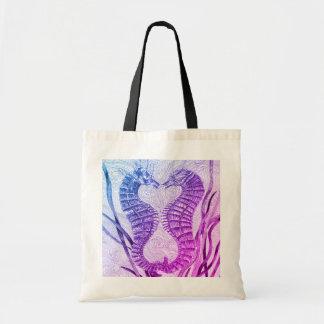Linked Seahorses in Purple Tote Bag