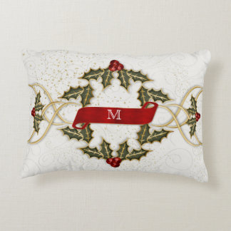 Links of Holly and Berries with Monogram Decorative Pillow