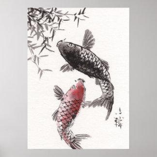LinLi Chinese Watercolor Art Print - KOI Fish #2