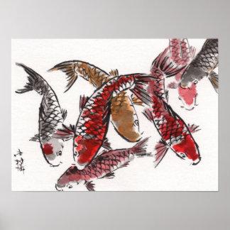 LinLi Chinese Watercolor Art Print - KOI Fish #3
