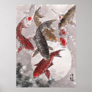 LinLi Chinese Watercolor Art Print - KOI Fish #5