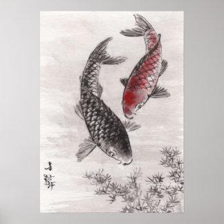 LinLi Chinese Watercolor Art Print - KOI Fish #7