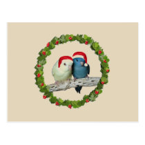 Linnie Santas & Christmas wreath Postcard