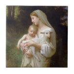 """L&#39;innocence Ceramic Tile<br><div class=""""desc"""">L&#39;innocence (also known as Innocence) was painted in the late 1800s by French painter William-Adolphe Bouguereau. This beautiful reproduction features the Virgin Mary,  baby Jesus and a little lamb.</div>"""