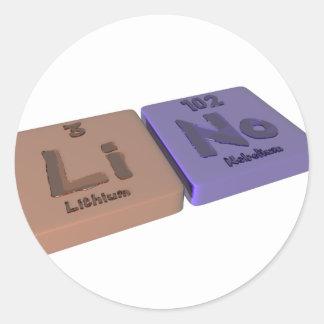 Lino as Lithium Li and Nobelium No Classic Round Sticker