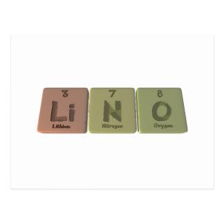 Lino as Lithium Nitrogen Oxygen Postcard