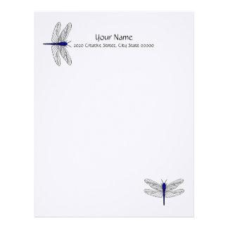 Lino azul del papel con membrete de la libélula in plantillas de membrete