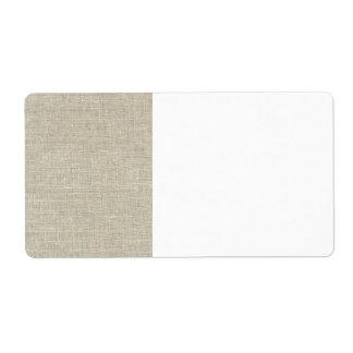 Lino beige rústico impreso etiquetas de envío
