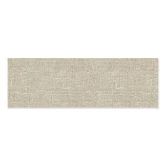 Lino beige rústico impreso tarjetas de visita