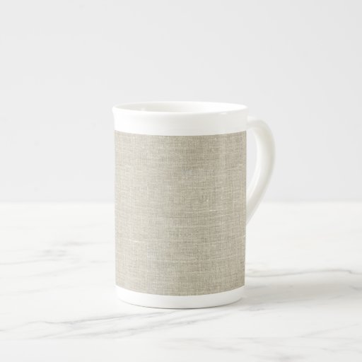 Lino beige rústico impreso taza de porcelana