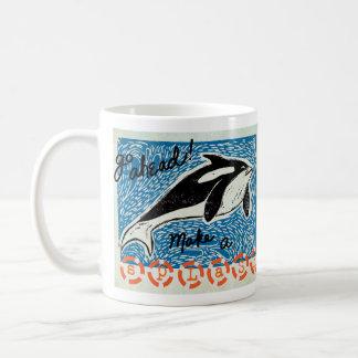 Lino-Cut Whale Classic White Coffee Mug