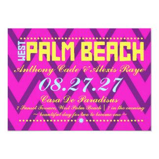 """Lino de Chevron del destino de WEST PALM BEACH Invitación 5"""" X 7"""""""