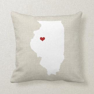 Lino de la almohada del estado de Illinoise falso Cojín Decorativo