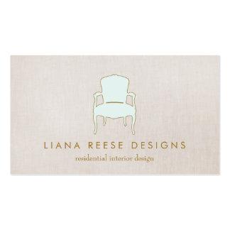Lino del logotipo francés de la silla del diseño tarjetas de visita