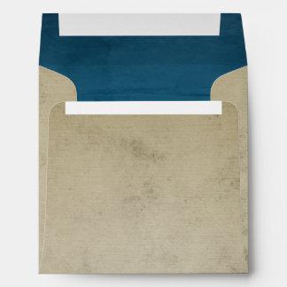 Lino del vintage con el cuadrado azul del terciope