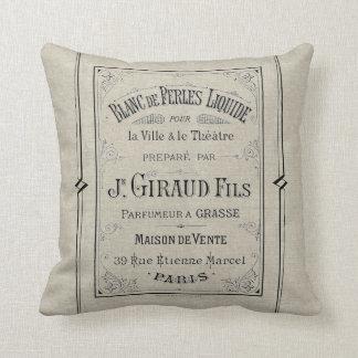 Lino francés de París Francia del anuncio del Cojín