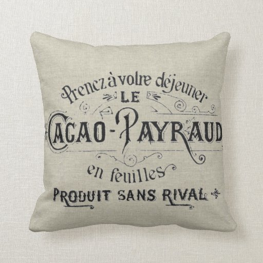 Lino francés del chocolate del vintage cojín