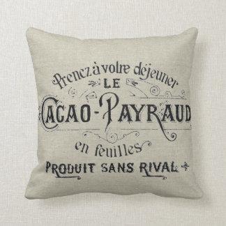 Lino francés del chocolate del vintage cojín decorativo