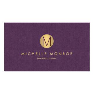 Lino minimalista de la púrpura del monograma del tarjetas de visita