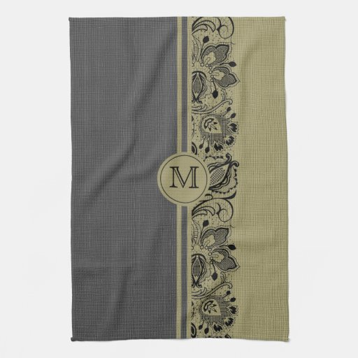 Lino natural beige y negro y cordón negro 2 toallas de cocina