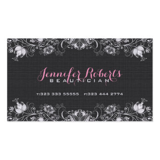 Lino negro de la arpillera y floral blanco y tarjetas personales