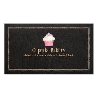 Lino negro de la panadería de la magdalena falso 1 tarjetas de visita