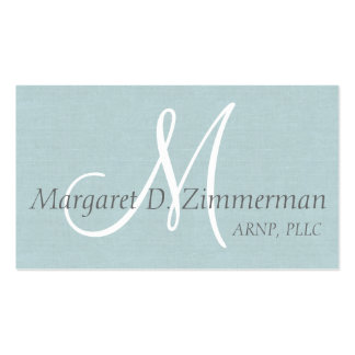 Lino profesional, azul claro con monograma plantillas de tarjeta de negocio