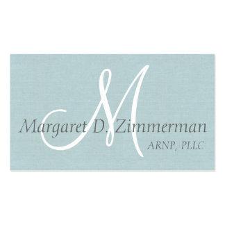Lino profesional, azul claro con monograma tarjetas de visita