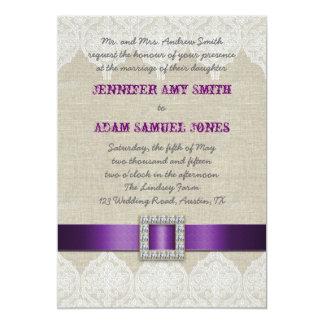 Lino púrpura rústico de la cinta del boda el | del invitacion personal