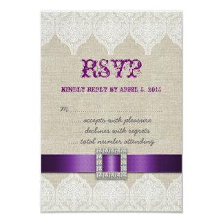 Lino rústico de la púrpura de RSVP del cordón que Comunicado
