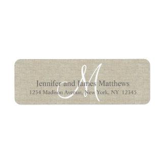 Lino rústico, monograma gris para los bodas etiqueta de remitente