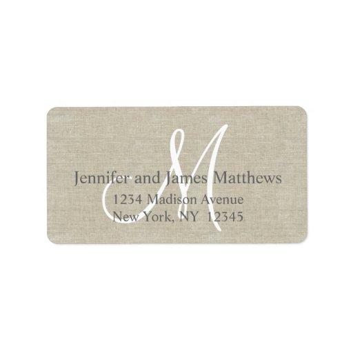 Lino rústico, monograma gris para los bodas etiquetas de dirección