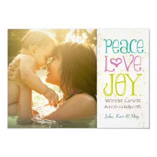 Lino sucio del amor y de la alegría de la paz de invitación 8,9 x 12,7 cm