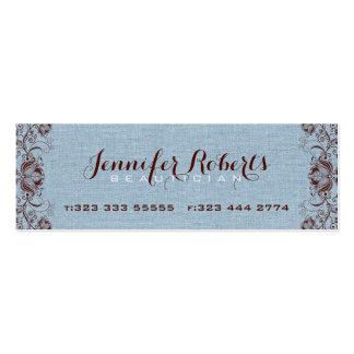 Lino y Brown florales y cordón azules de la Tarjetas De Visita Mini