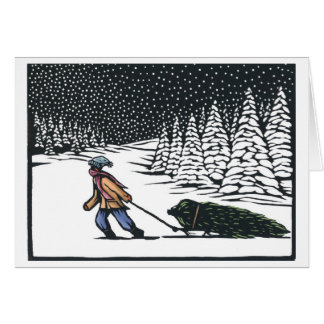 Linocut:  Boy Pulling Christmas Tree from Forest b Greeting Card