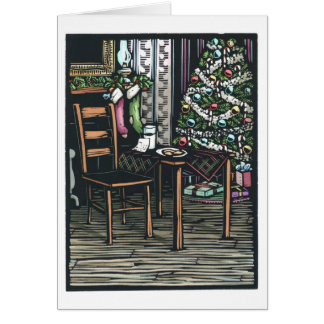Linocut:  Christmas Tree and Santa Note ByKen Swan Card