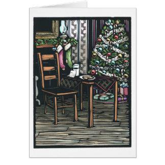 Linocut:  Christmas Tree and Santa Note ByKen Swan Greeting Card